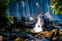 Creative Bride and Groom portrait in front of Montreat College