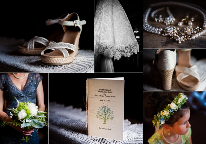 Brides gorgeous wedding details included gorgeous white wedges, elegant pearl jewelry and a lace wedding gown