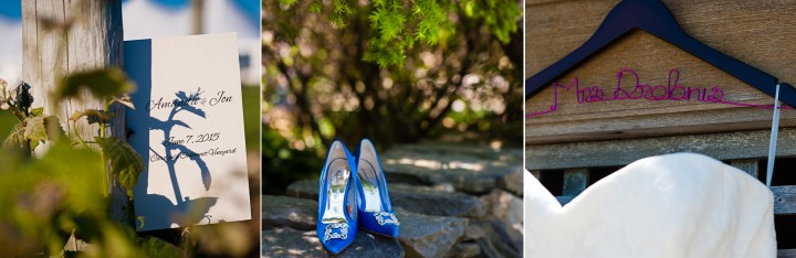 beautiful DIY vineyard wedding details included the bride adorable blue shoes and hand designed wedding program