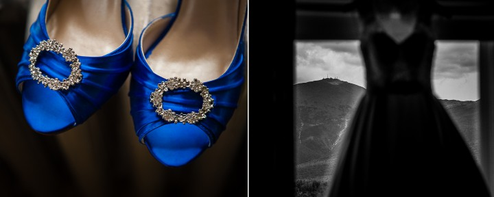 pretty blue shoes and gorgeous stella york dress hanging in mountain washington hotel's window