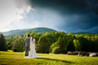 stormy asheville wedding portrait in the mountains