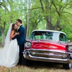 asheville wedding bride and groom portrait with vintage red car
