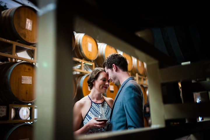 asheville engagement photos at wicked weed funkatorium