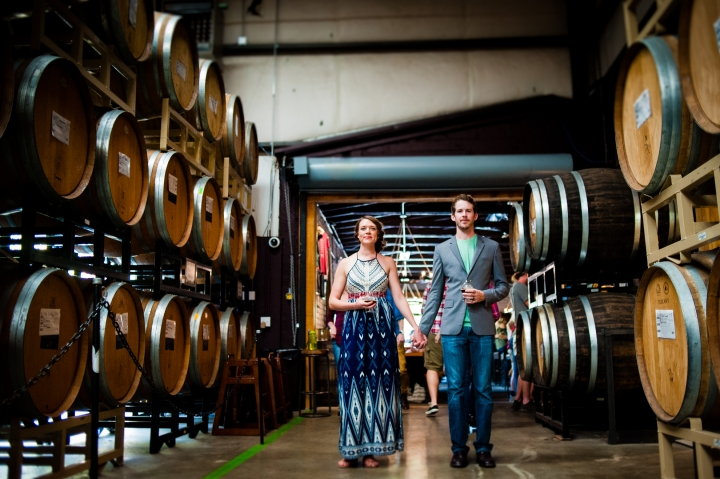 asheville engagement photographer wicked weed brewery