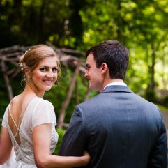 wedding portrait in the woods at the vineyards at bettys creek