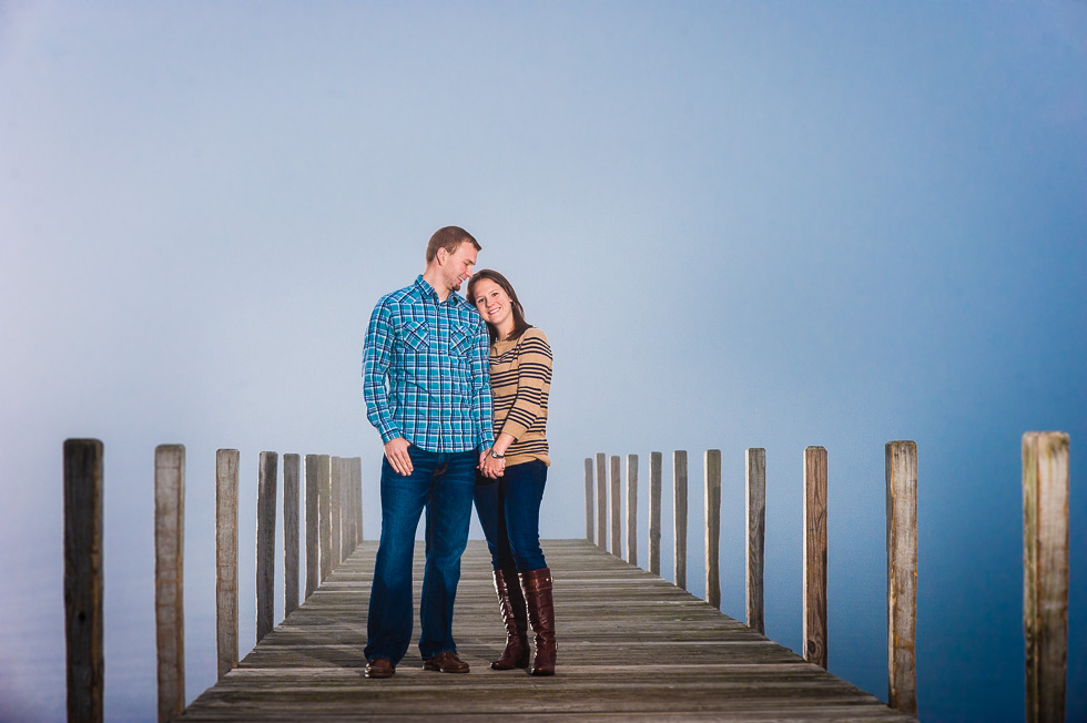asheville engagement photo in the mist