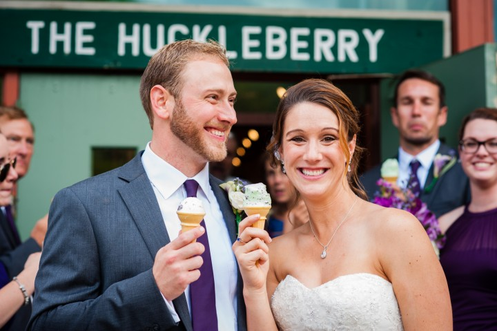 Bride and groom enjoying some ice cream during their couples portraits at their Montreat College wedding