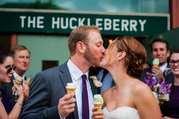 Bride and groom enjoying some ice cream during their couples portraits at their Montreat College wedding!
