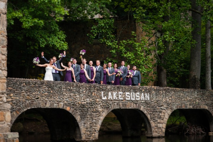 Wedding Party having some fun during the fall wedding at Montreat College