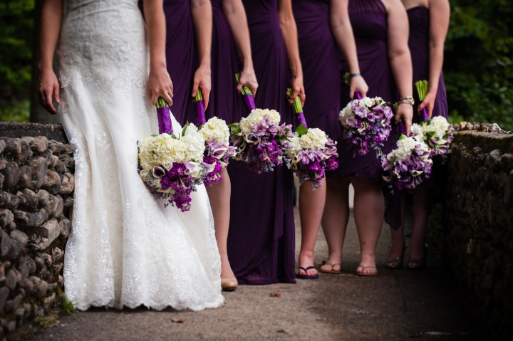 purple and white bouquets were perfect for this fall wedding in the mountains near Asheville NC