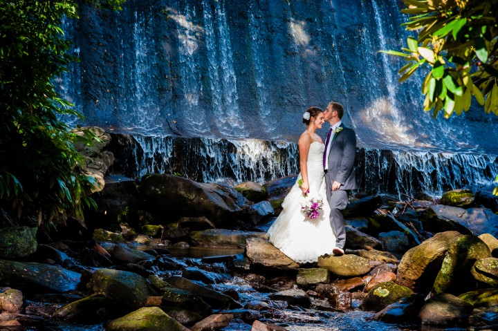 Creative Bride and Groom portrait in front of Montreat College's Waterfall