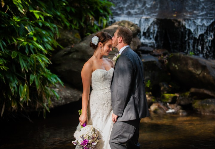 Montreat college's waterfall is the perfect place for couples portraits