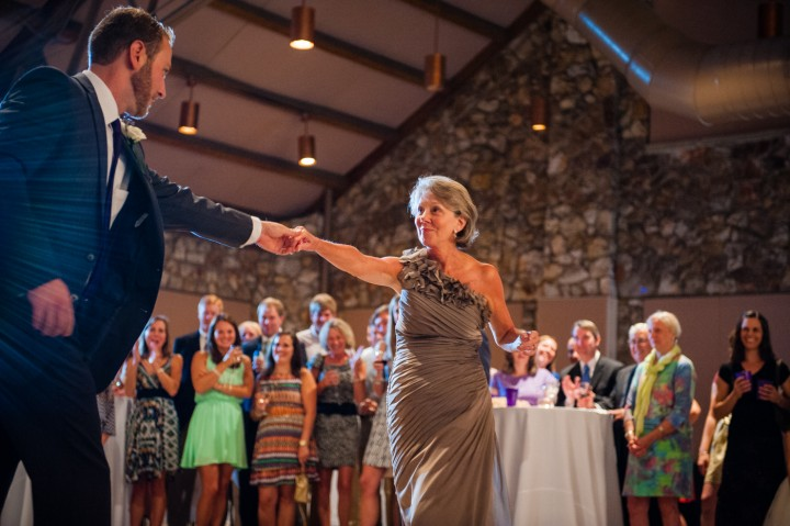 Groom and his mom tear up the dance floor in the Anderson Auditorium