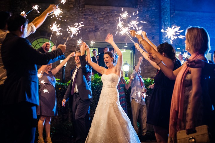 A happy Sparker Send Off is a great way to end the night at this Montreat College wedding