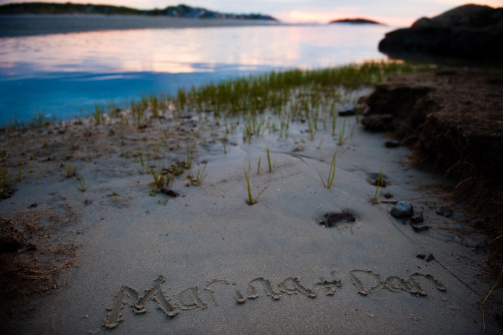 Couples name written in the sand at good harbor beach