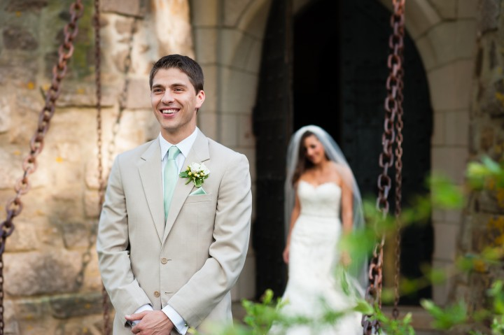 Groom gets ready to see his bride for the first time