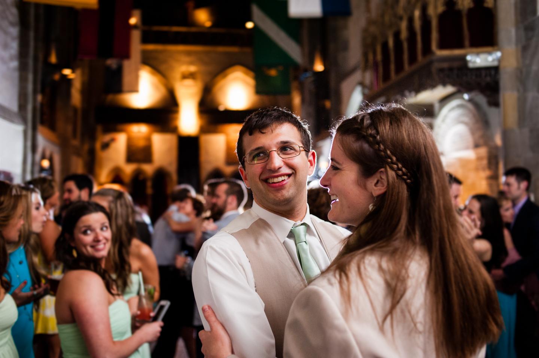 adorable couple dances during wedding reception at Hammond Castle