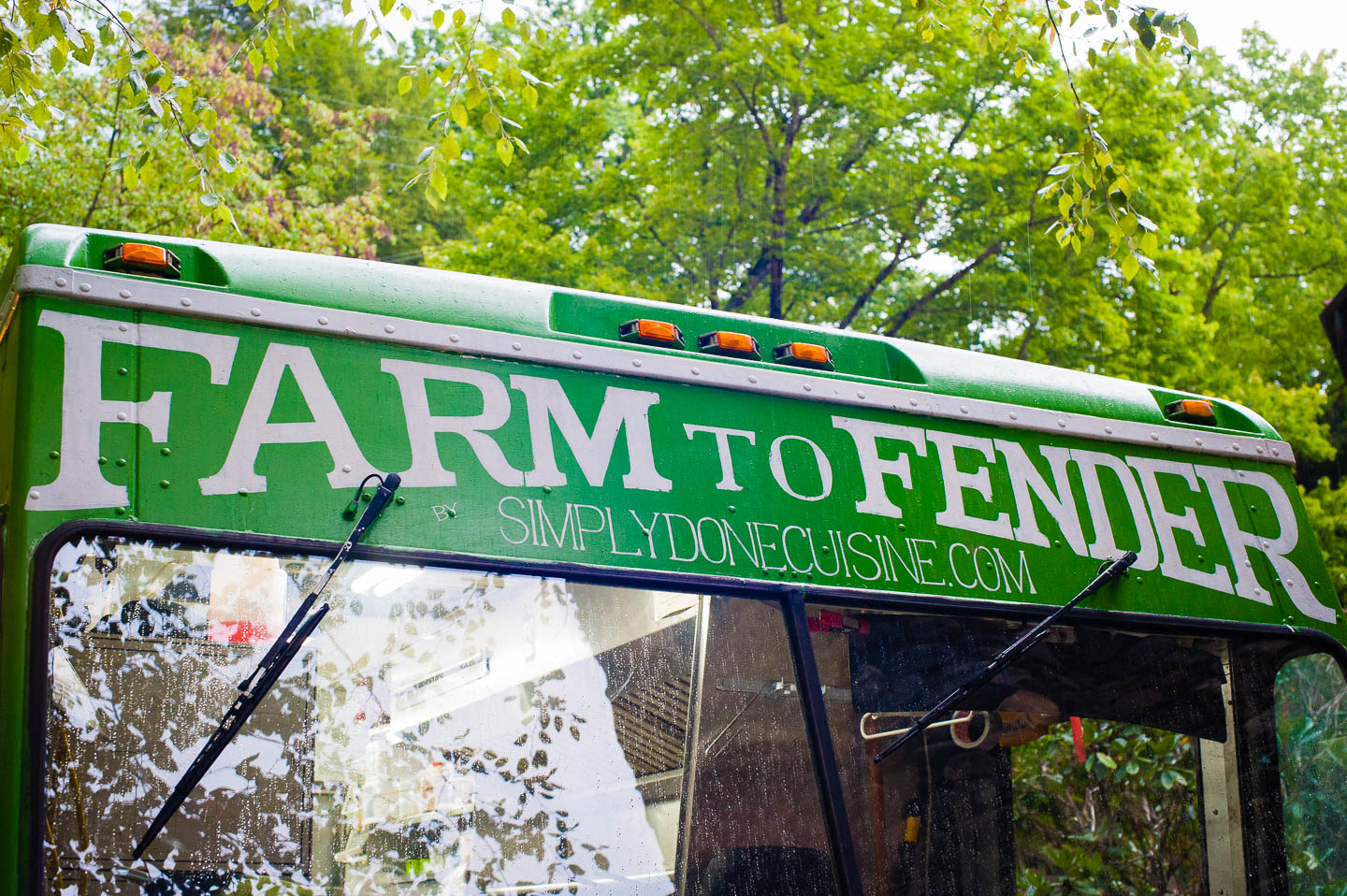 Farm to Fender food truck parked in front of a Montreat North Carolina wedding venue for some amazing food selections at this Asheville area wedding