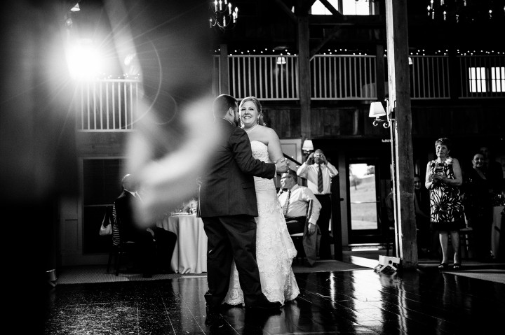 Black and white photo of bride and grooms first dance as husband and wife