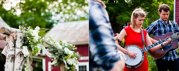 Beautiful handmade birch tree arbor adorns the ceremony location