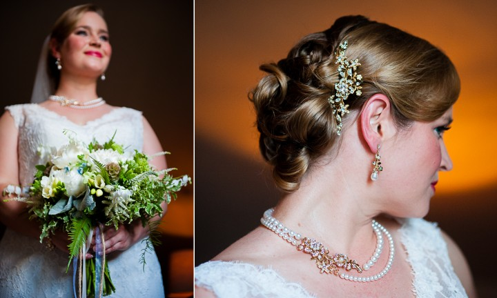 The bride poses with her gorgeous bouquet and shows off her stunning hairpiece
