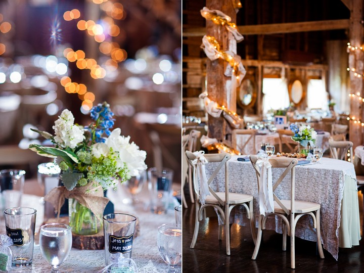 Gorgeous purple and blue flowers decorate the rustic barn reception at Bishop Farm