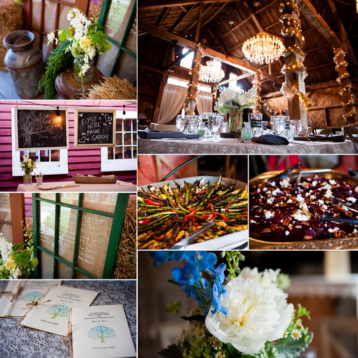All the pretty details during a rustic barn wedding