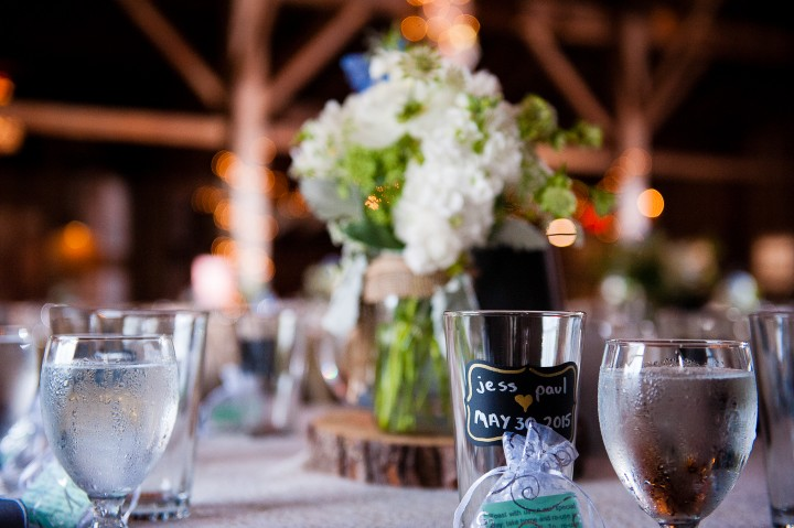 Custom glasses were placed on each table for the guests to take home