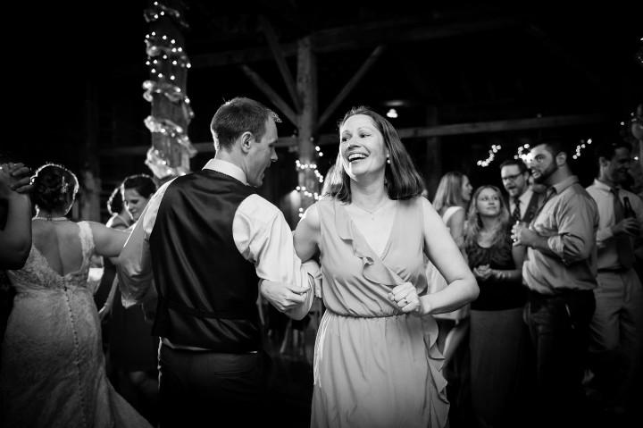 guests having fun on the barn dance floor