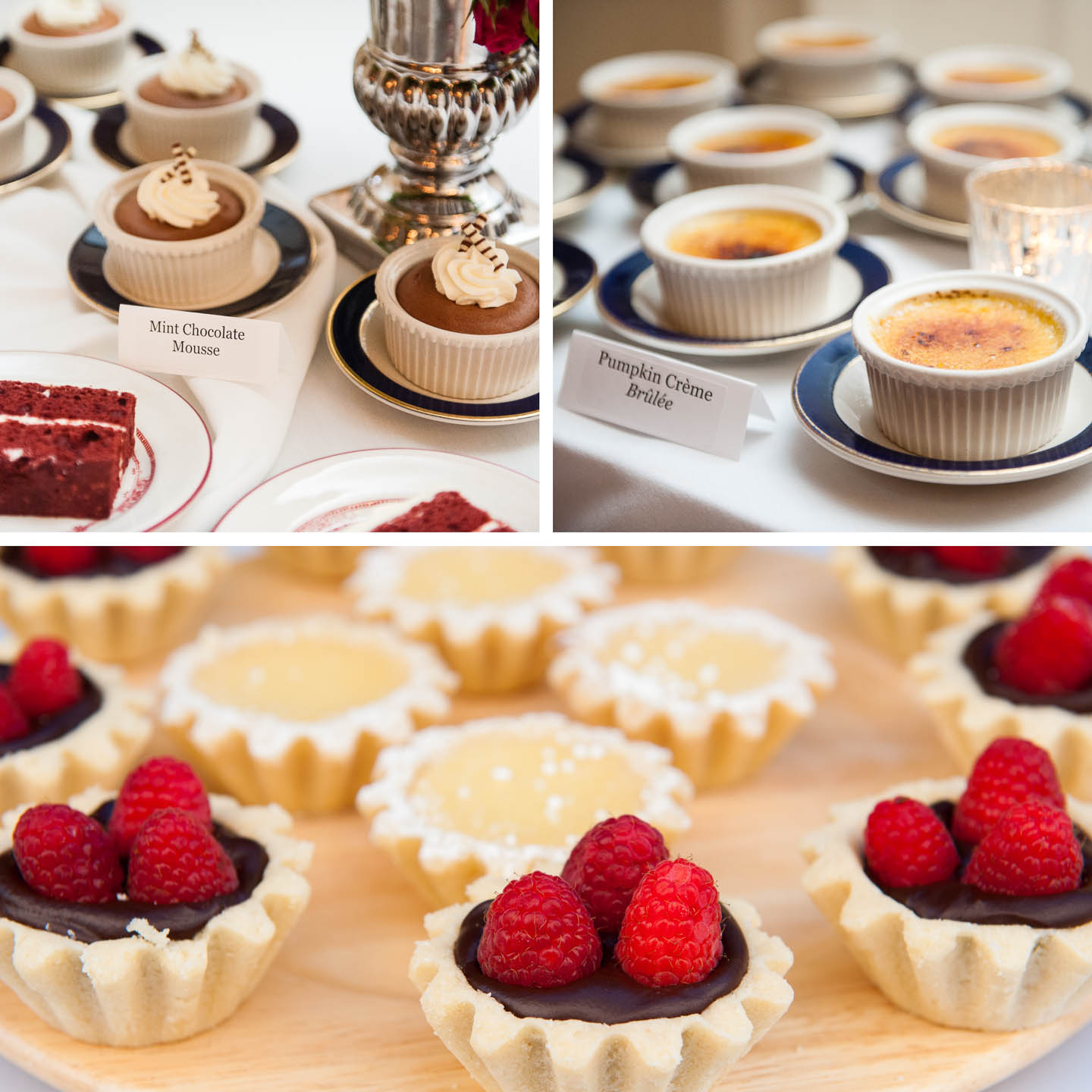 Wedding dessert options including mint stick chocolate moose, pumpkin creme brulee and an assortment of tarts