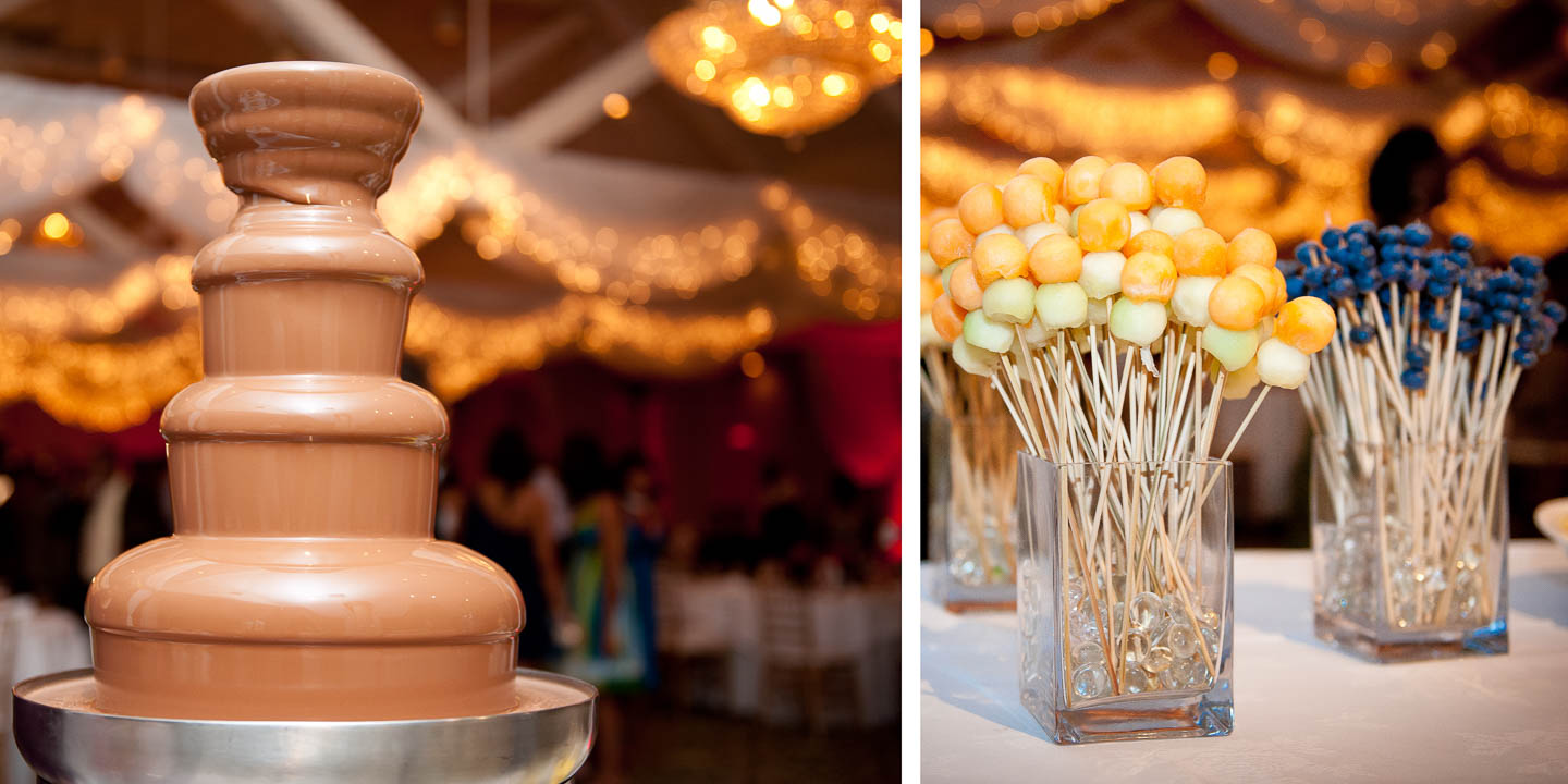 A wedding cake alternative, this chocolate fountain with assorted fruit on a stick is amazing