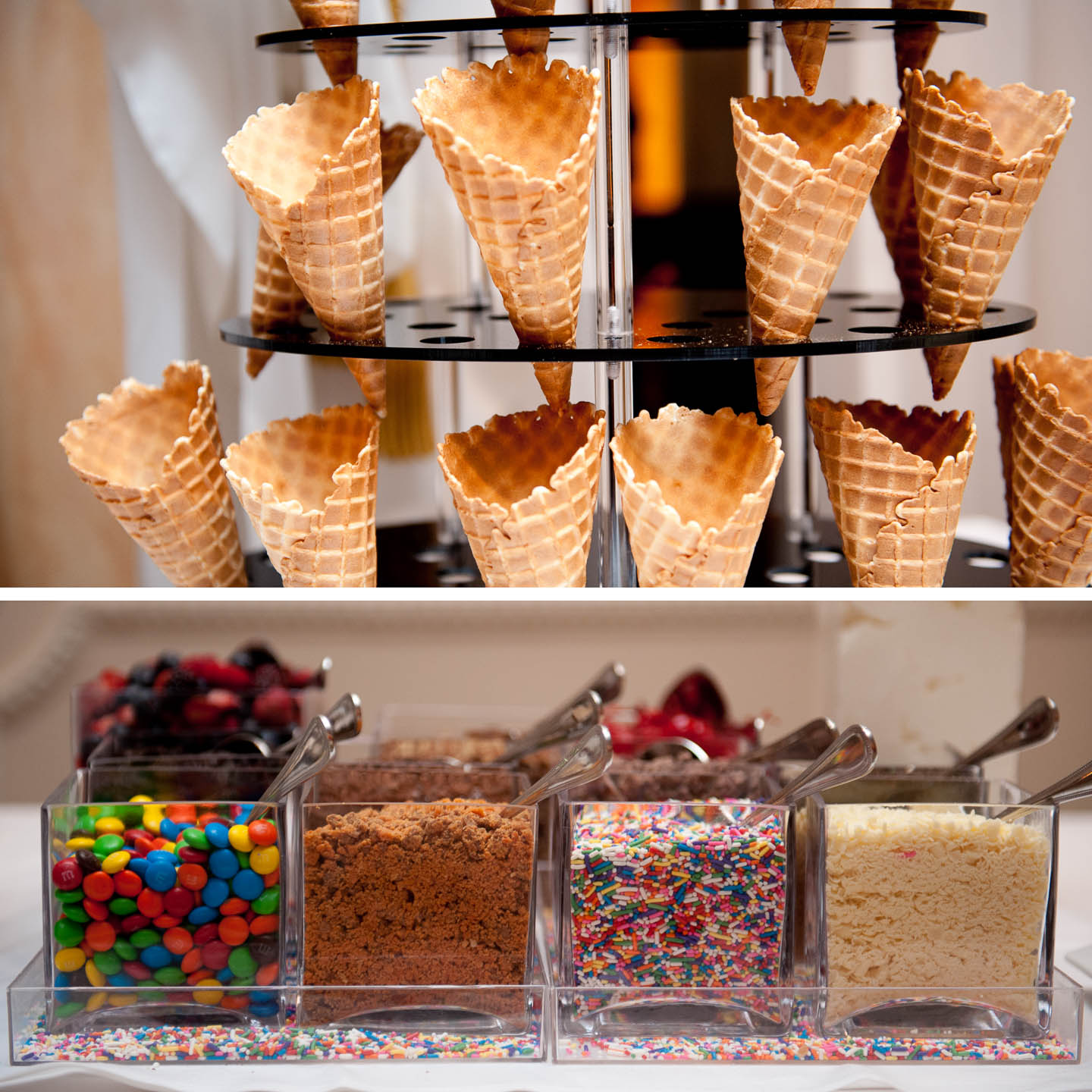 Three tiers of waffle cones and an assortment of candy toppings make this ice cream bar a big hit at weddings