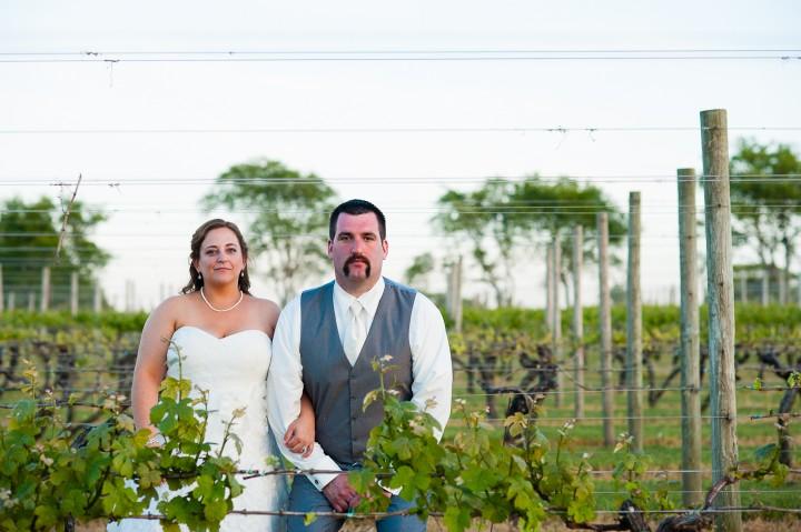 Bride And Groom Pose Amongst The Grape Vines During Their Sakonnet Vineyard Wedding