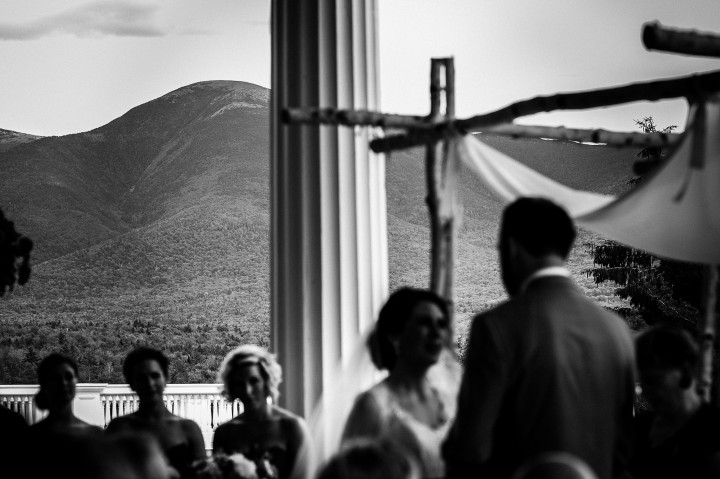 the presidential mountain range in NH was the backdrop for this beautiful summertime wedding ceremony
