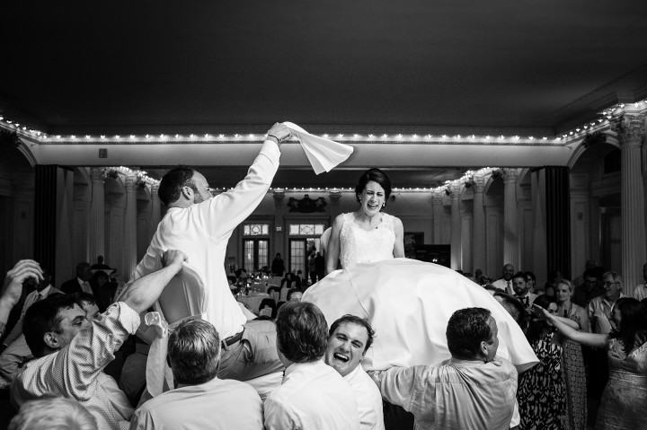the bride was terrified during the Hora a traditional jewish chair dance