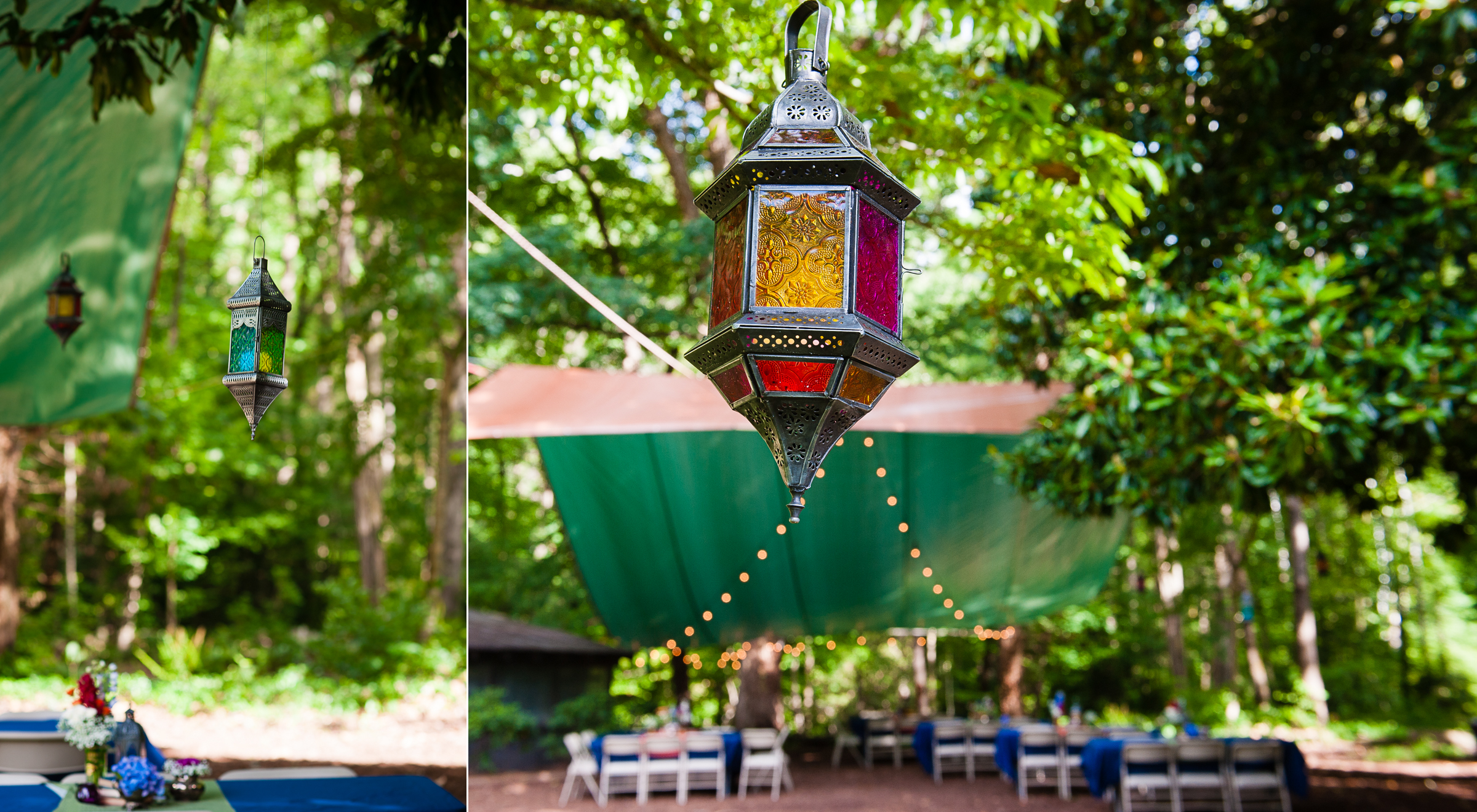 gorgeous lanterns hung from magnolia trees during this backyard asheville wedding