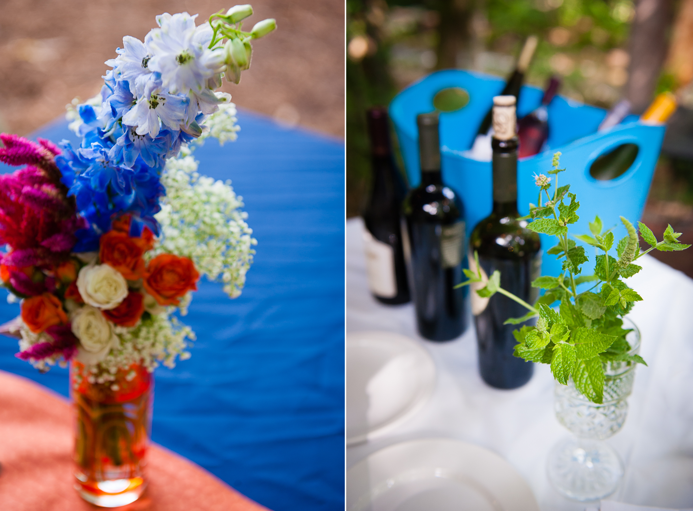 beautiful blue and orange flowers adorned the tables of this backyard wedding