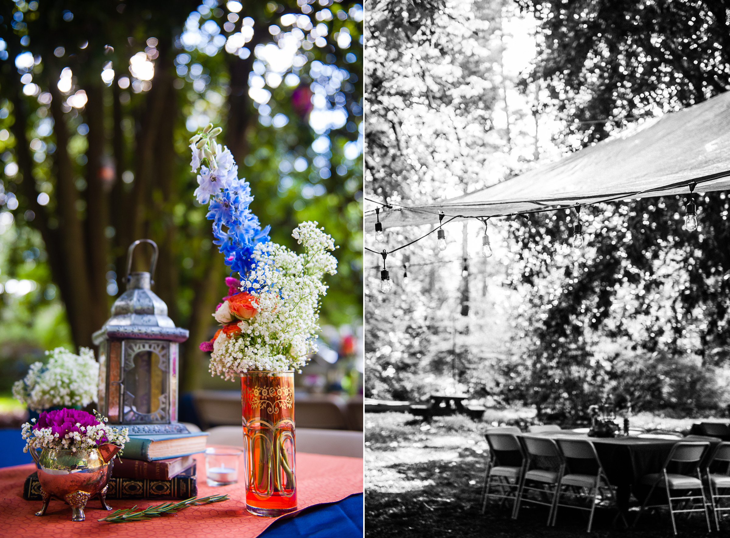 blue and white flowers adorned the tables underneath a green tarp with lights was the setting for this backyard asheville wedding