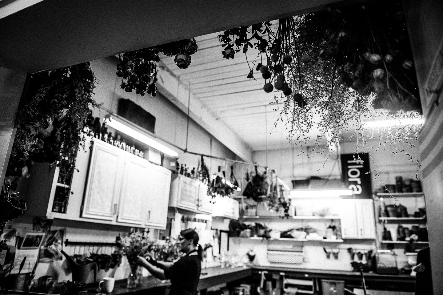black and white image of asheville wedding florists studio space