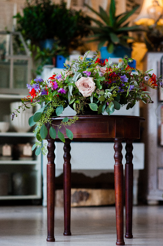 gorgeous wedding floral arrangement created by Flora  an asheville wedding planner