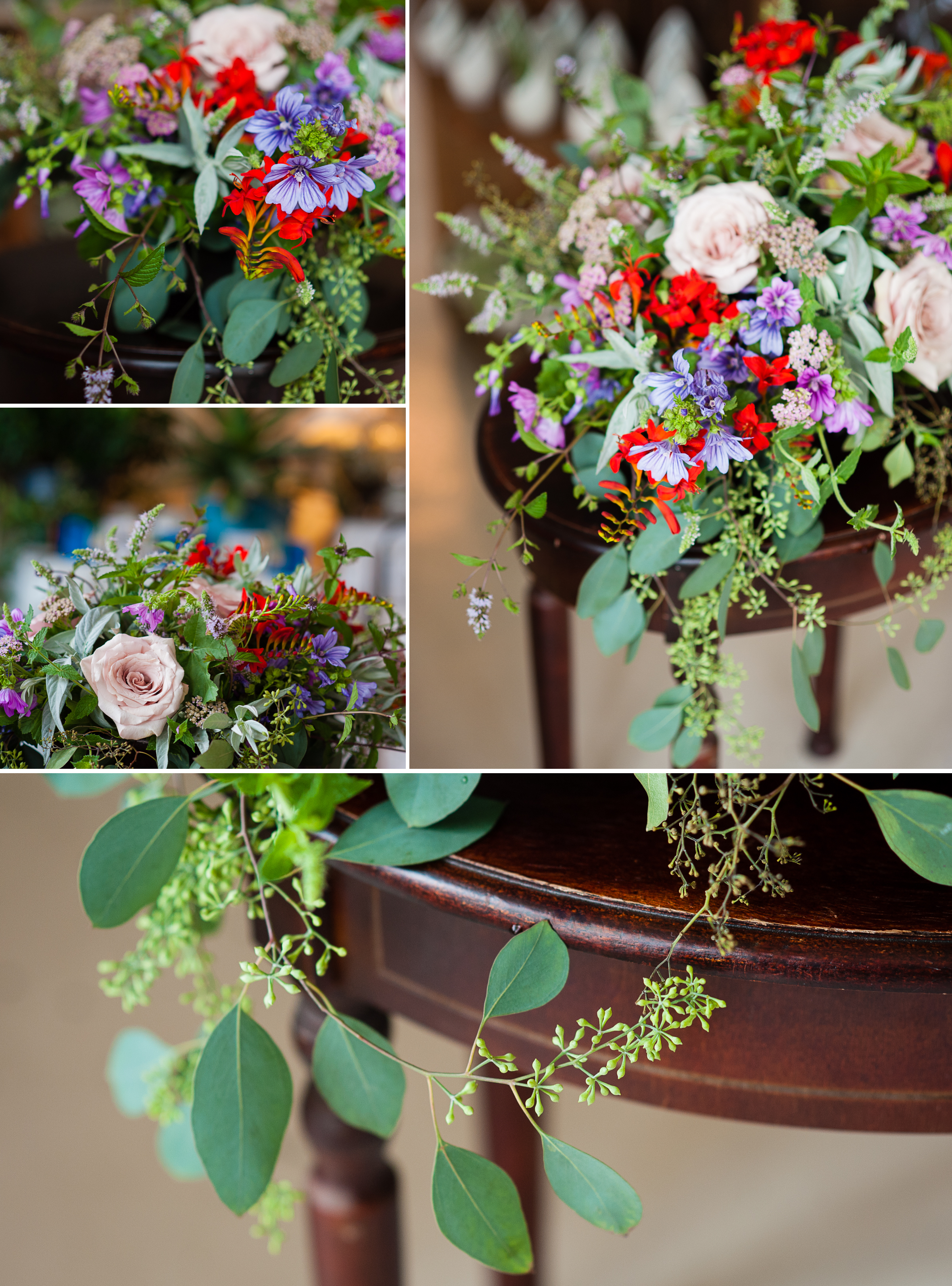 close up images of a gorgeous wedding floral arrangement in asheville nc