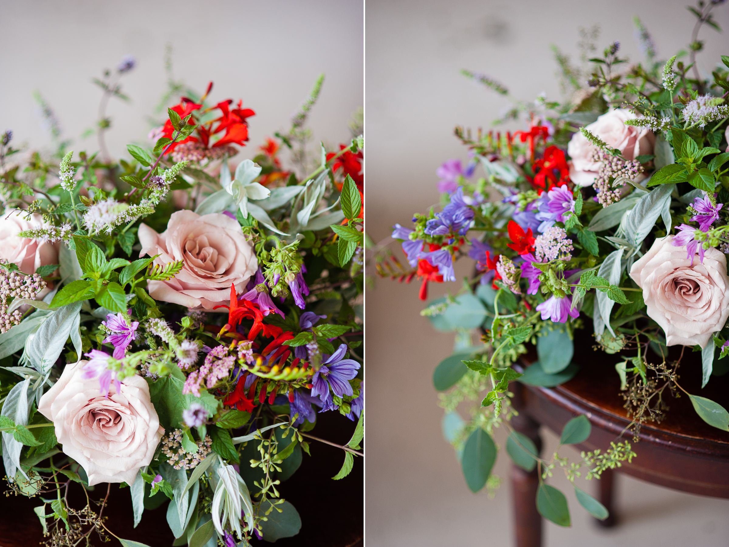 details of a gorgeous floral arrangement with pink and green and red flowers