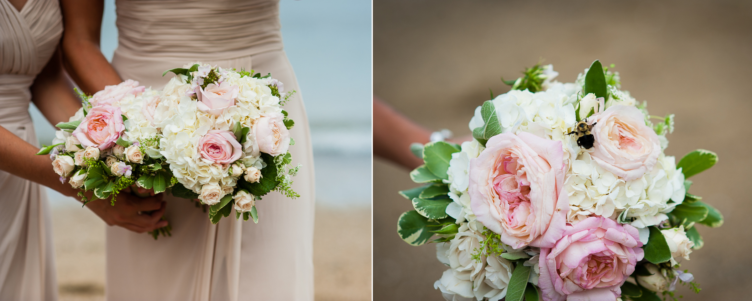 a little bee decided to land on the gorgeous bridesmaid bouquets