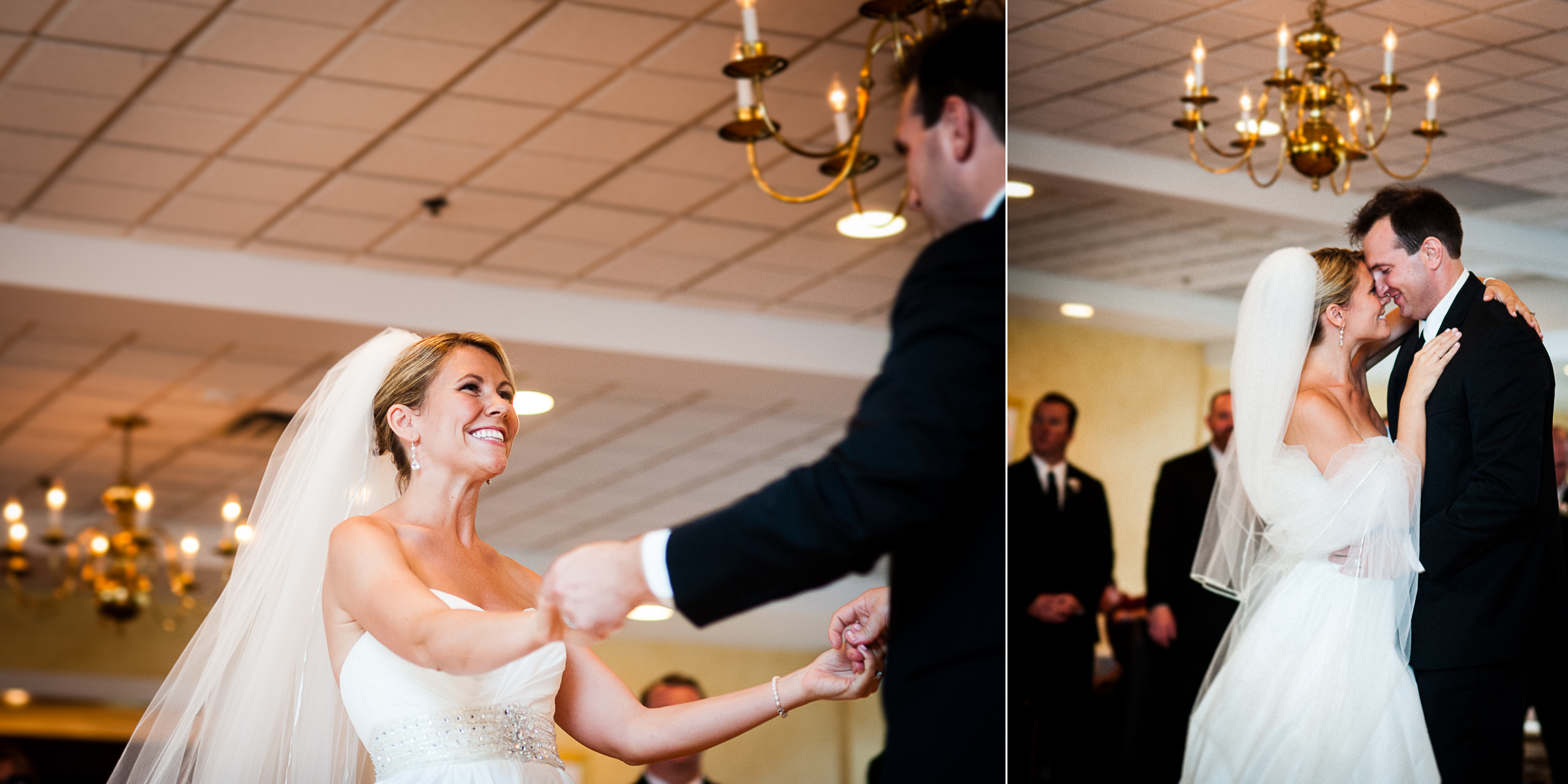 the bride and groom have a blast during their first dance as husband and wife