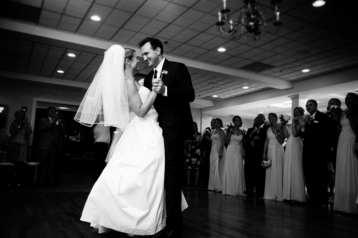 a bride and groom executing a perfect first dance