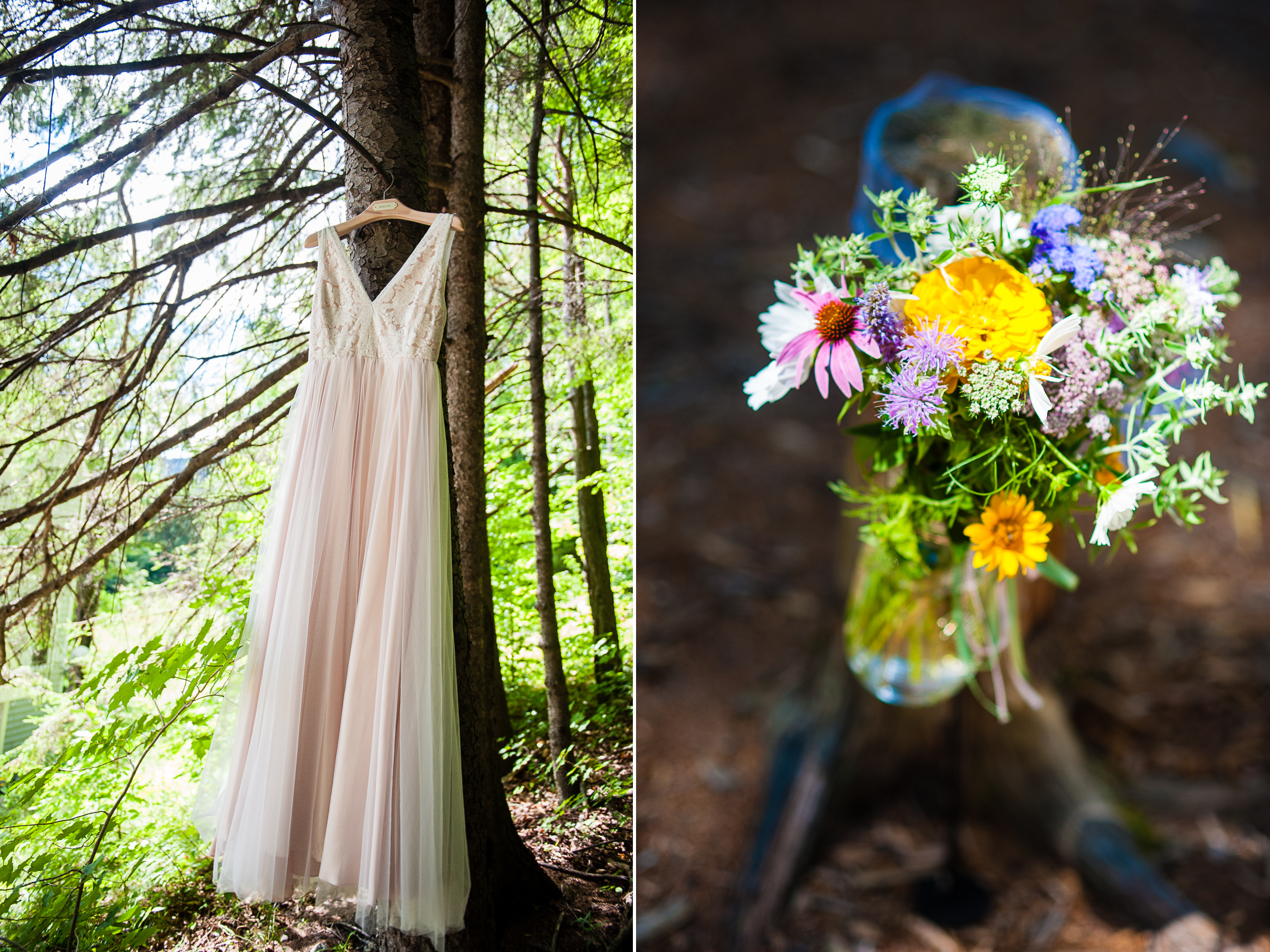 A gorgeous BHLDN wedding dress hangs from a pine tree and flowers adorned the ceremony site