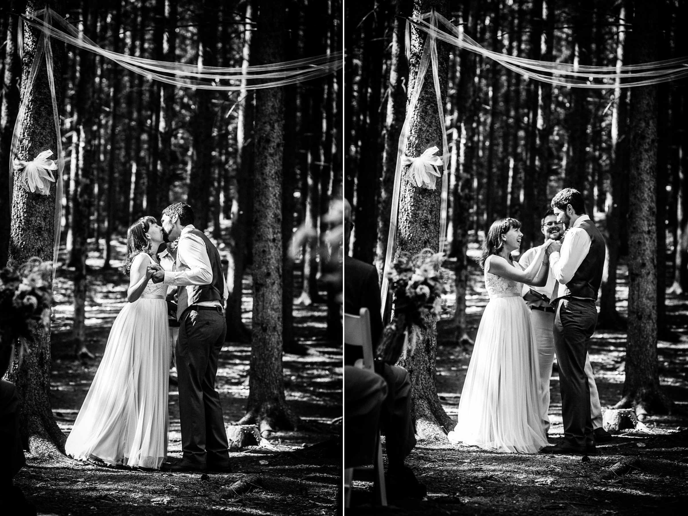 The bride and groom very happily exchange their first kiss as husband and  wife