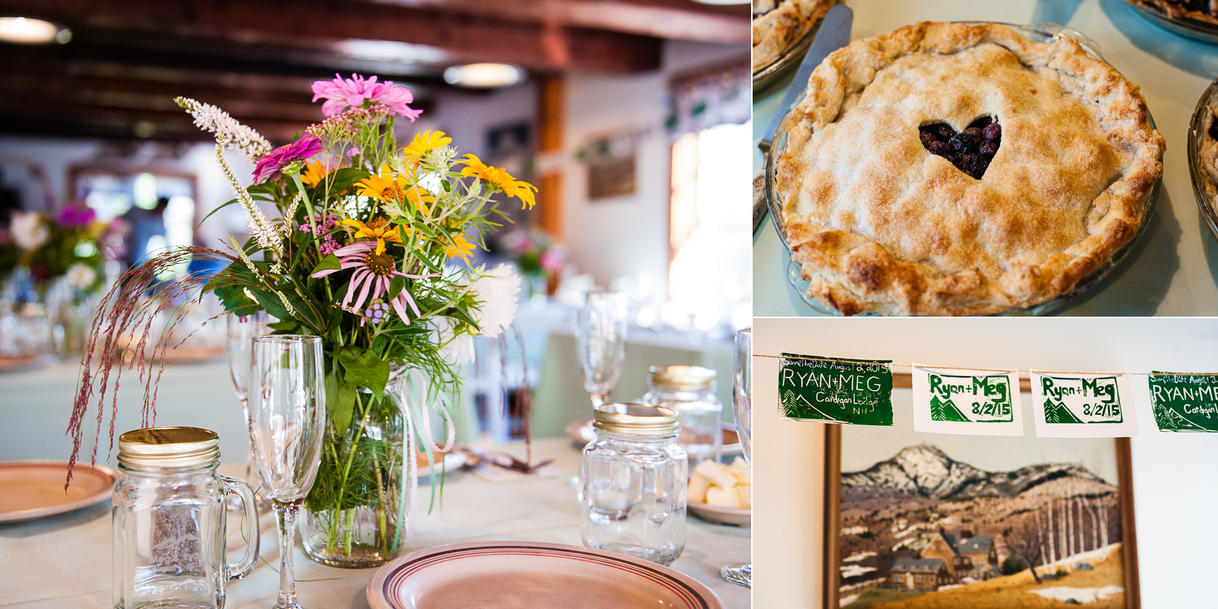 beautiful wildflowers adorn the tables and pies for dessert are some of the highlights of this mountain wedding