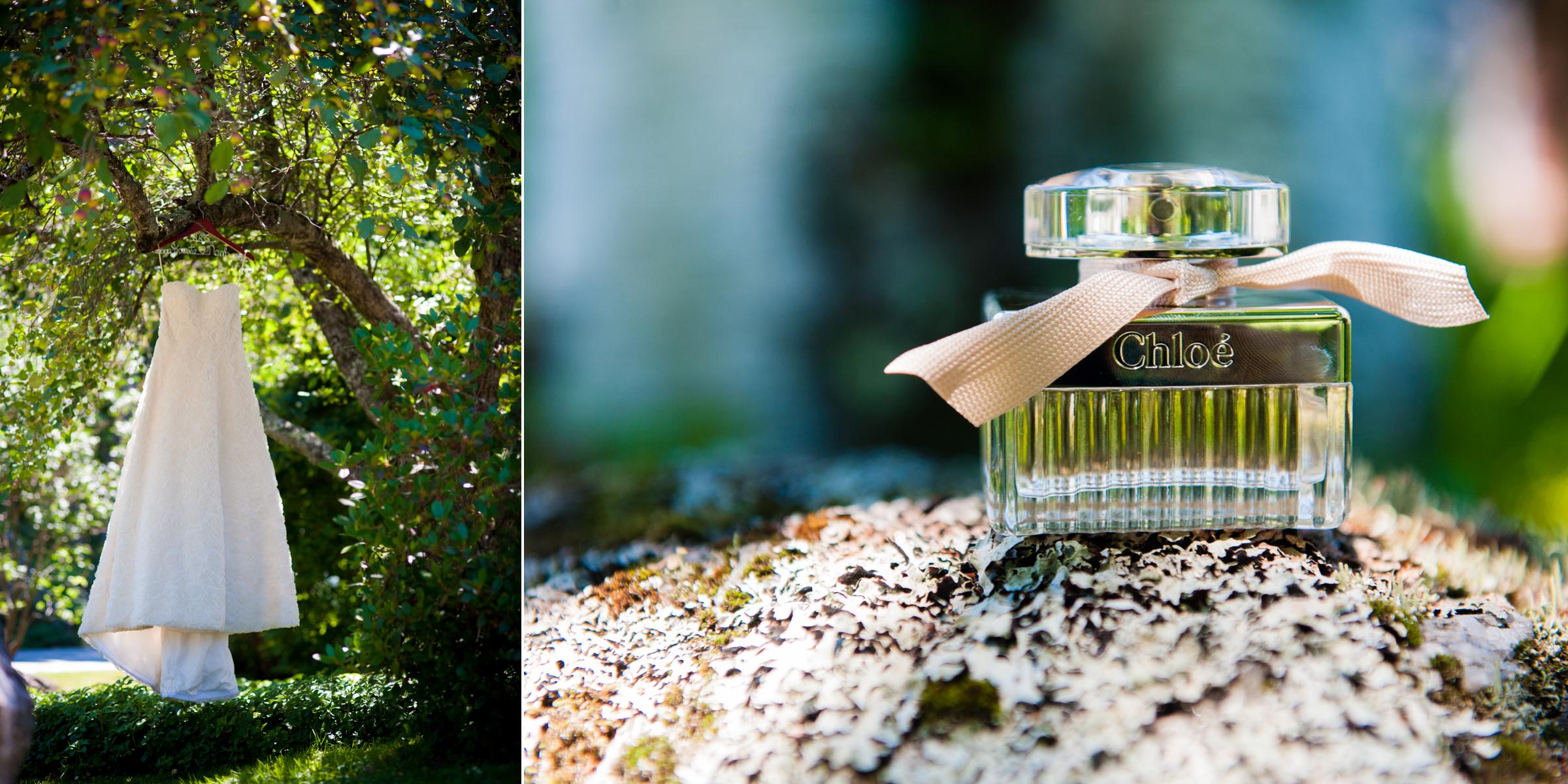 beautiful wedding details included elegant chloe perfume and a beautiful lace wedding dress