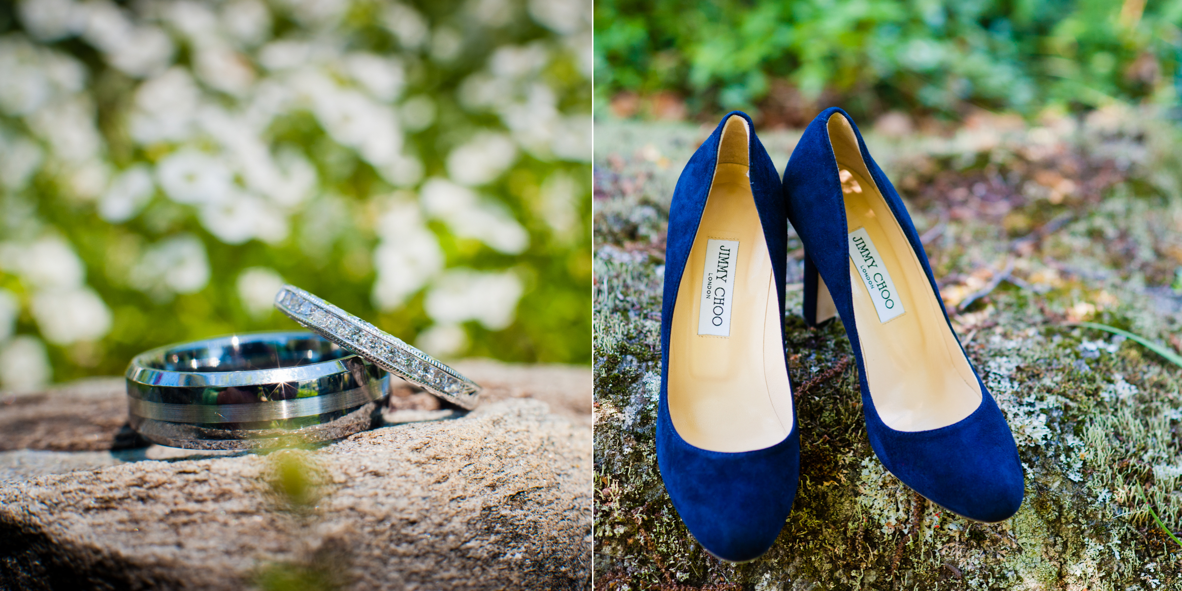 Jimmy Choo blue wedding shoes and beautiful wedding bands posed on a rock